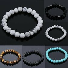Fashion Women Men's Spot Natural Lava Stone Bangle Buddha Beaded Charm Bracelet