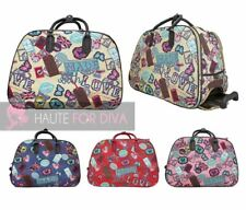 NEW LONDON STYLE PRINT LADIES WHEELED HANDLE SUITCASE TRAVEL LUGGAGE BAG HOLDALL