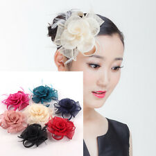 Wedding Races Hat Sinamay Fascinator Church Derby Flower Feather Hairpin Party