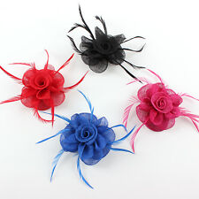 Lady Sinamay Hat Kentucky Derby Feather Flower Fascinator Wedding Races Haircips