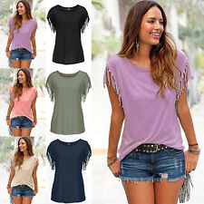 Vogue Womens Tassels Short Sleeve Loose T-Shirt Ladies Summer Casual Tops Blouse
