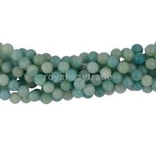 15 inch 6/8 mm Natural Peru Blue Amazonite Gemstones Round Spacer Beads Findings