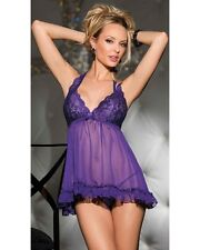 Plus Size Babydoll Sexy Lingerie with Thong OY-R70098P-5 Purple : XL / 2XL / 3XL