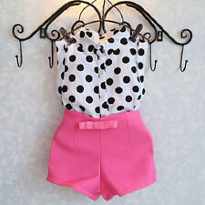 Polka Dot Single-breasted T-shirt High Waist Bow Pink Shorts Summer Baby Girls