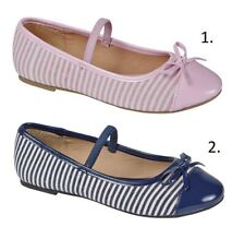 NEW GIRLS ELEGANT BALLERINA SHOE ELASTICATED STRIPED BOW CASUAL PARTY