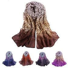 New Fashion Girl Women Leopard Soft Wrap Lady Shawl Silk Chiffon Long Scarf W069