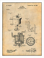 1897 Henry Ford Carburetor Patent Print Art Drawing Poster 18X24
