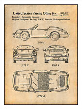Porsche 911 Automobile Patent Print Art Drawing Poster 18X24