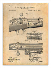 1892 Springfield Model Krag-Jorgensen Rifle Patent Print Art Drawing Poster