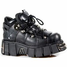 New Rock 106-S1 Metallic Boots Black Leather Gothic Biker Emo Fashion All Size