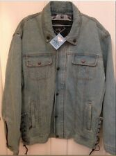Denim Motorcycle Jacket With Quilted Zip Out Liner Mens Diamond Plate NEW