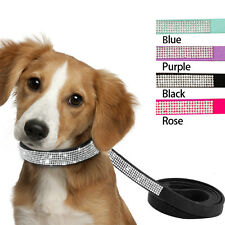 Rhinestone Suede Leather Pet Dog Collar and Leash for Small Dog Yorkie Chihuahua