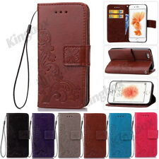 Floral PU Leather Flip Wallet Case Cover Card/Cash Slot Flip Stand for iPhone