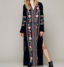 New Womens Hippie Mexican Boho Embroidered Pessant Flower Beach Maxi Sexy Dress