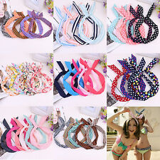Vogue Dot Rabbit Bunny Ear Ribbon Metal Wire Headband Scarf Hair Head Band Bow