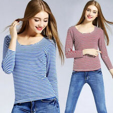 Fashion Women Loose Striped O-neck T-shirts Casual Tees Long Sleeve Tops Blouses