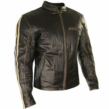 Xelement Mens Armored Dark Brown Leather Motorcycle Jacket with Beige Stripes