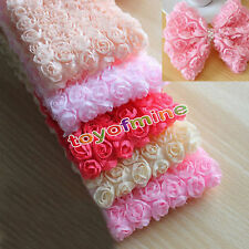 1 Yard 6 Row 3D Chiffon Rose Flower Lace Trim Gift Sewing Craft Fabric Decor DIY
