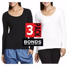 3 PACK x BONDS LADIES LONG SLEEVE SCOOP TOP TSHIRT WOMENS BLACK WHITE SIZE S-XL
