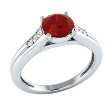 0.70 ct Real Ruby & Authentic Diamond Solid Gold Wedding Engagement Ring