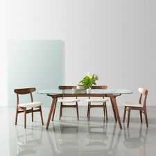Frederik Dining Table - Glass + Solid Walnut Timber - 200x100cm