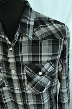 Old Navy grey  flannel check western country shirt in size small rockabilly