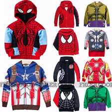 Babys Superhero Spider Man Hoodie Sweatshirt Winter Coat Fleece Jacket 2-8Years