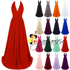 Stock V Neck Formal Prom Party Ball Gown Evening Wedding Bridesmaid Dresses 6-20