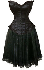 Black Corset+Skirt Gothic Prom Formal Emo Party Victorian Costume Dance Plain
