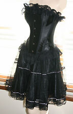 Black Corset+Skirt Burlesque Steel Busk Gothic Prom Formal Party Bustier Lace