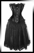 Black Corset+Skirt Prom Burlesque Steel Busk Lace Trim