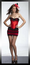 Red Corset+Mini Skirt Micro Lace Lolita Burlesque Moulin Rouge Costume Fancy