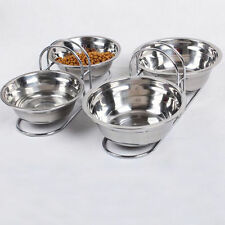 Stainless Steel Pet Antiskid Double Bowl Dog Cat Puppy Food Dishes Feeder Water