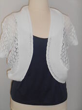 Womens plus Size 14 16 18 20 top shrug knitted bolero jacket white short sleeve