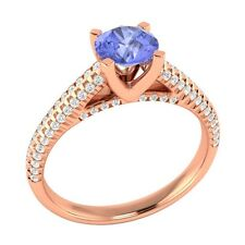1.00 ct Natural Blue Tanzanite & Authentic Diamond Yellow Gold Engagement Ring
