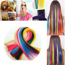 Women Clip On In Hairpiece Synthetic Long Straight Gradient Color Hair Extension