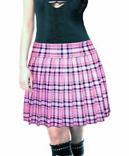 BABY PINK  STRETCH LYCRA SCHOOLGIRL TARTAN PLAID PLEATED LONG SKIRT Junior 17""