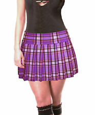 "PURPLE STRETCH LYCRA SCHOOLGIRL TARTAN PLAID PLEATED MINI SKIRT 13""-13.5"" Long"