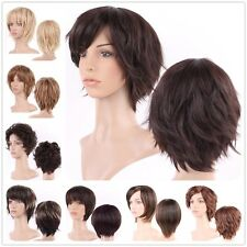 Short Wig Multicolor Synthetic Hair Curly Wave Straight Ombre Two Tone Full Wigs