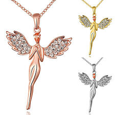 Women Fashion 18K Gold Plated Zircon Angel Pendant Charm Chain Necklace Jewelry