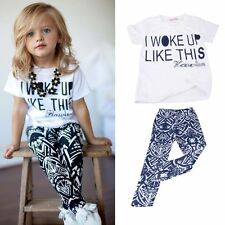 New Baby Girls Kids Clothes Toddler Short Sleeves T-Shirt + Pants Outfits 2-6Y
