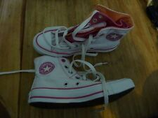 high top converse white with orange and pink inside and trim size 3 used