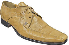 Mauri ITALY Tan Crocodile Skin Leather M757 Lace Up Oxfords Formal Dress Shoes