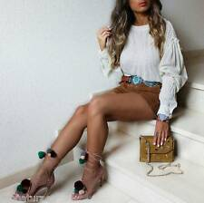 ZARA LEATHER HIGH HEEL SANDALS WITH POMPOMS SHOES, BLOGGERS,REF 6614/101