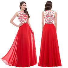 Sexy Elegant Applique Sleeveless Red Long Party Prom Cocktail Evening Maxi Dress