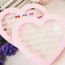 Wholesale 36 Pairs Round Pearl 4-6mm Ear Studs Pin Earrings+Heart Package Box