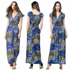 Summer Womens Boho Maxi Long Dress Beach Evening Party Sundress Plus Size Blue