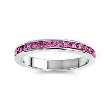 925 Silver Eternity Ring 3mm - Rose Pink 3 4 5 6 7 8 9 10 11 12 RCAOBOOO- RP