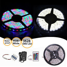 5M Cool White RGB Waterproof 3528 SMD 300 LED Strip Light Dimmer Adapter Remote