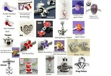 ~-~ TWO European Charm Beads YOUR CHOICE ~ Hat Society Red Purple Silver ~-~
